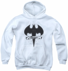 Batman youth teen hoodie Gothic Gotham white