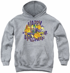 Joker youth teen hoodie Ha Ha Halloween athletic heather