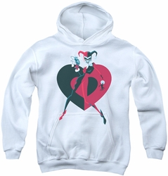 Harley Quinn youth teen hoodie Harley Quinn Heart white