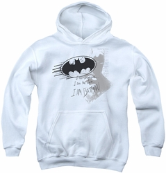 Batman youth teen hoodie I Am Vengeance white