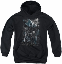 Batman youth teen hoodie In The Rain black