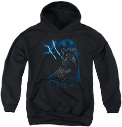 Batman youth teen hoodie Lightning Strikes black