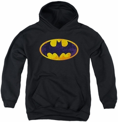 Batman youth teen hoodie Neon Distress Logo black