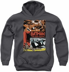 Batman youth teen hoodie Old Movie Poster charcoal