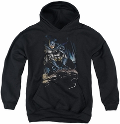 Batman youth teen hoodie Perched black