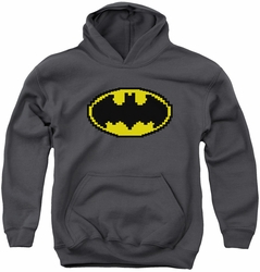 Batman youth teen hoodie Pixel Symbol charcoal