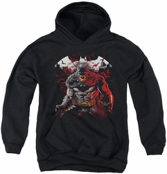 Batman youth teen hoodie Raging Bat black