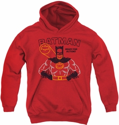 Batman youth teen hoodie Ready For Action red