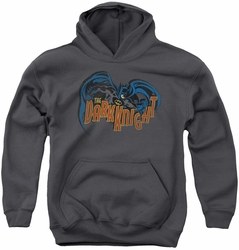 Batman youth teen hoodie Retro Dark Knight charcoal