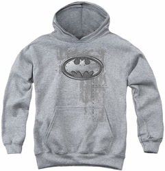 Batman youth teen hoodie Rivited Metal Logo athletic heather