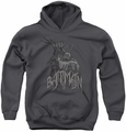 Batman youth teen hoodie Scary Right Hand charcoal