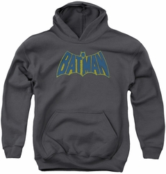 Batman youth teen hoodie Sketch Logo charcoal
