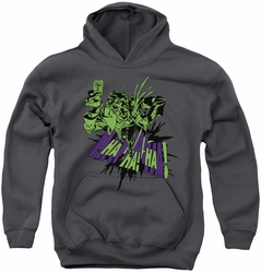 Batman youth teen hoodie Smell My Flower charcoal