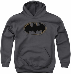 Batman youth teen hoodie Spray Paint Logo charcoal