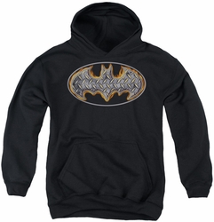 Batman youth teen hoodie Steel Fire Shield black