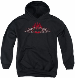 Batman youth teen hoodie Steel Flames Logo black