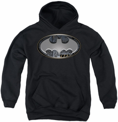 Batman youth teen hoodie Steel Wall Shield black