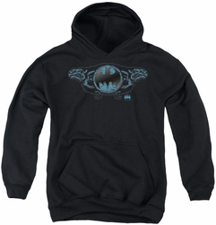 Batman youth teen hoodie Two Gargoyles Logo black