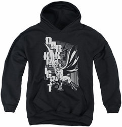 Batman youth teen hoodie Vertical Letters black