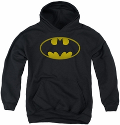 Batman youth teen hoodie Washed Bat Logo black