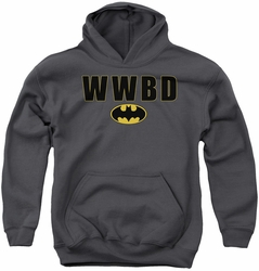 Batman youth teen hoodie Wwbd Logo charcoal