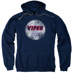 Battlestar Galactica pull-over hoodie War Torn Viper Logo adult Navy