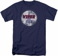 Battlestar Galactica t-shirt War Torn Viper Logo mens Navy