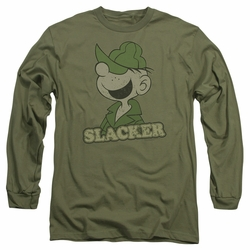 Beetle Bailey adult long-sleeved shirt Slacker military green