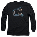 Bettie Page adult long-sleeved shirt Blue Moon black
