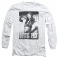 Bettie Page adult long-sleeved shirt Fancy Page white