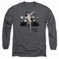 Bettie Page adult long-sleeved shirt Paparazzi charcoal