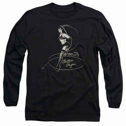 Bettie Page adult long-sleeved shirt Whip It! black