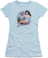 Bettie Page juniors t-shirt Cowgirl light blue