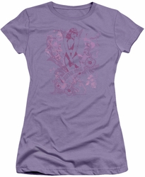 Bettie Page juniors t-shirt Flowers lavendar