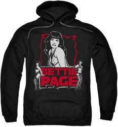 Bettie Page pull-over hoodie Bettie Scary Hot adult black