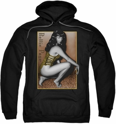 Bettie Page pull-over hoodie Crouching Leopard adult black