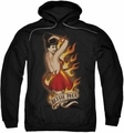 Bettie Page pull-over hoodie Devil Tattoo adult black