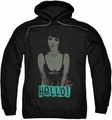 Bettie Page pull-over hoodie Hello adult black