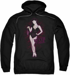 Bettie Page pull-over hoodie Lacy adult black