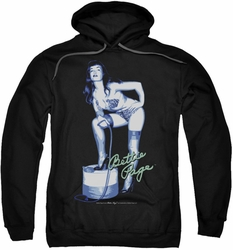Bettie Page pull-over hoodie Mistress adult black