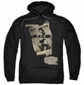 Bettie Page pull-over hoodie Newspaper & Lace adult black