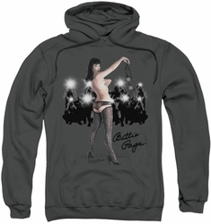 Bettie Page pull-over hoodie Paparazzi adult charcoal