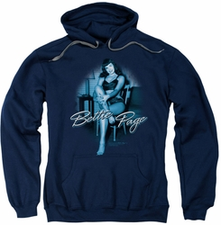 Bettie Page pull-over hoodie Patient Pin Up adult navy