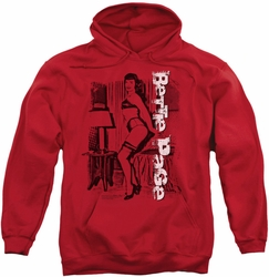Bettie Page pull-over hoodie Shake It adult red