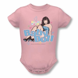 Bettie Page snapsuit Baby Doll pink