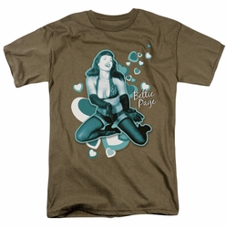 Bettie Page t-shirt Come Back mens safari green