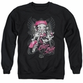 Betty Boop adult crewneck sweatshirt Biker Babe black