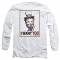 Betty Boop adult long-sleeved shirt Auntie Boop white
