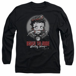 Betty Boop adult long-sleeved shirt Born To Ride black