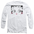 Betty Boop adult long-sleeved shirt Close Up white